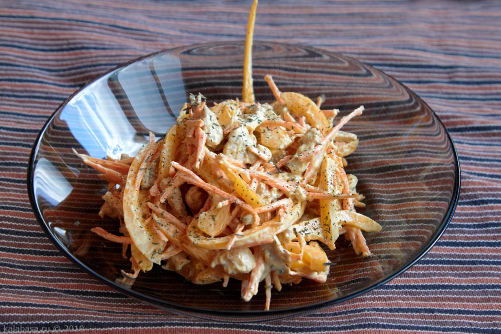 Салат с курицей и корейской морковью рецепт и болгарским перцем