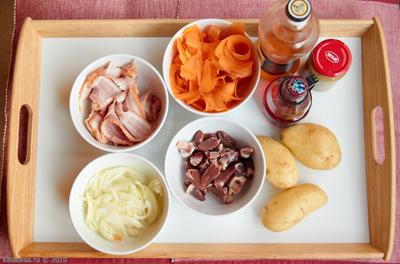 meat salads Теплый мясной салат Куриные потрошка Картофель Бекон