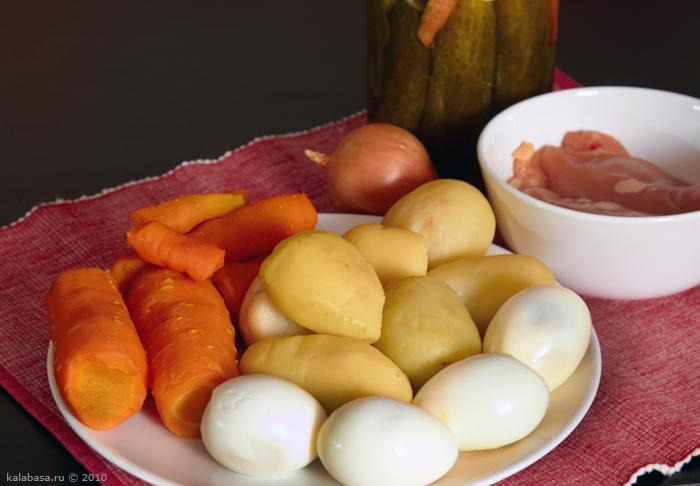 salaty vegetable salads vse podryad meat salads  Оливье… Тазик Морковь Курица Картофель