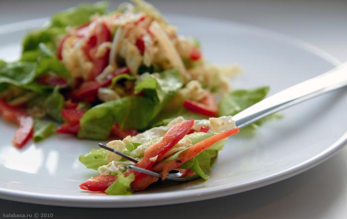 salaty with mushrooms  Два салата Перец Капуста Зелень Грибы