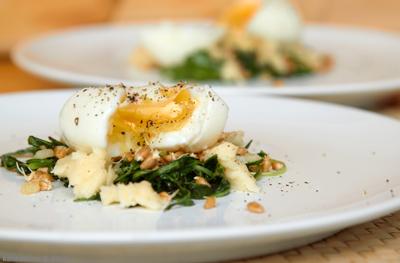 salaty  Салат из листьев одуванчика Яйца Зелень