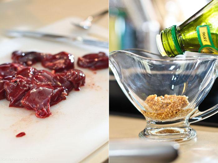 holiday recipes special food main course meat  Блины с куриной печенкой, грушей и горчичным соусом Куриные потрошка Груши