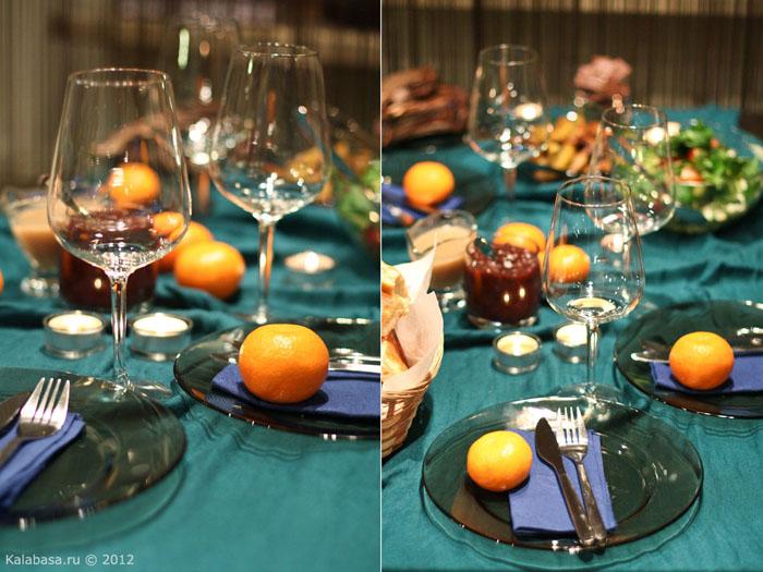 servirovka stola  Сервировка. Лазурь и апельсины